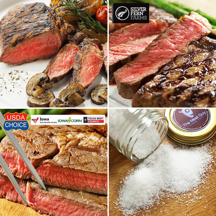 【送料無料】リブロースステーキ 食べ比べセット (イタリア産海塩のおまけ付き)