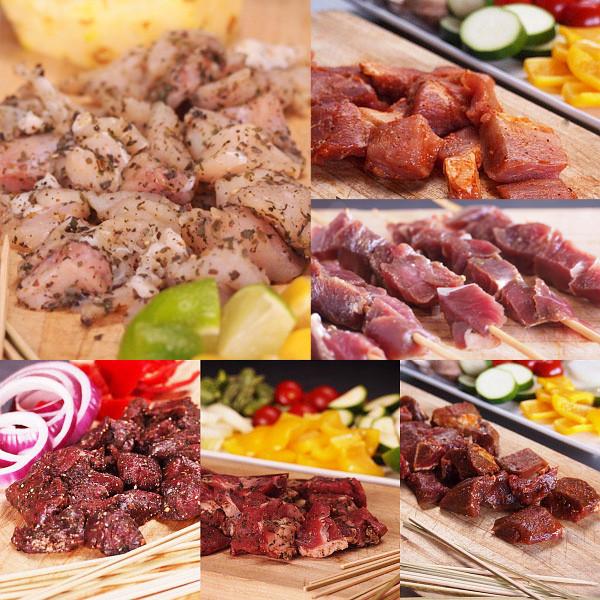 【入荷未定】竹串付き味付け生肉キューブ6種セット