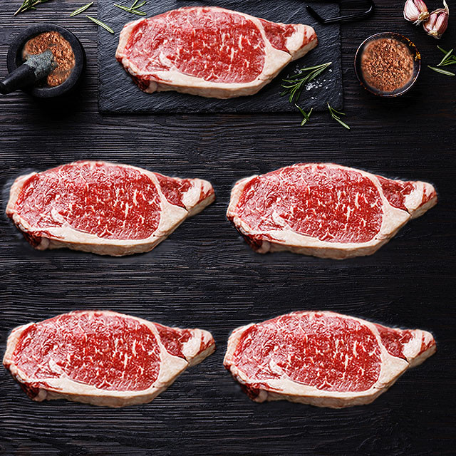 (Free Shipping) USDA Striploin Steak Set 5x350g + Free Steak Spice (20%OFF)
