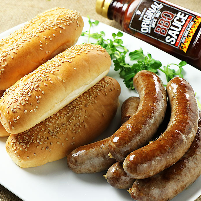 (Free Shipping) Sausage Taster Set (Smokey Beef/Pork Sausage with BBQ Sauce and Buns) First Time Buyer Recommendation!
