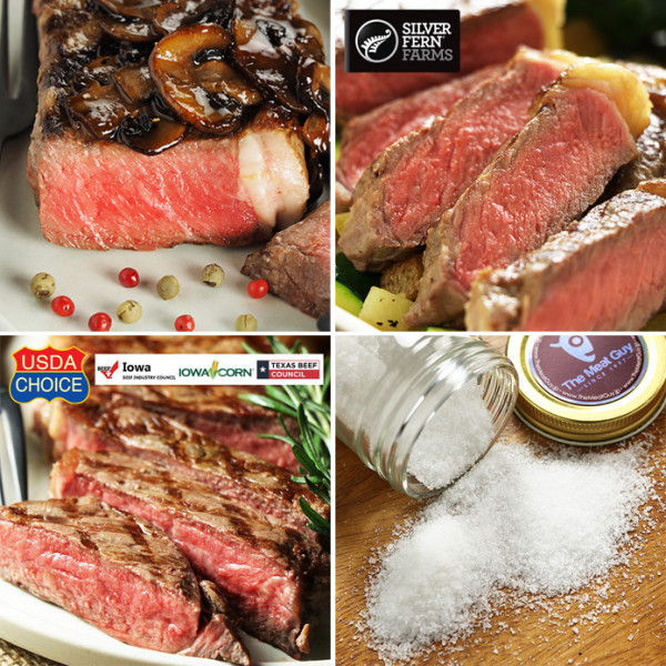 (Shipping Free) Strip Steaks Assortment + Free Sea Salt