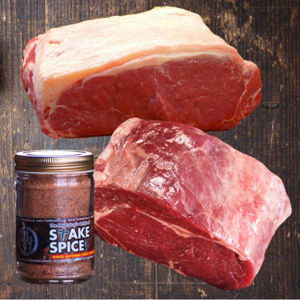 (Free Shipping) Gift Set Striploin (1kg) and Rib Roast Block (800g) + Steak Spice Jar