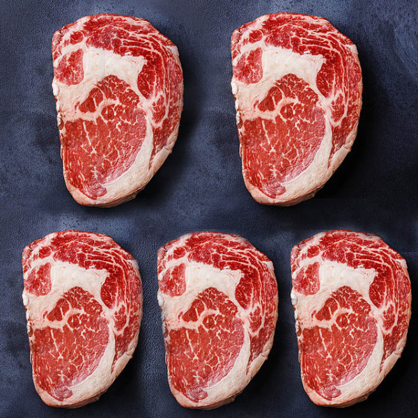 (FREE SHIPPING) USDA Choice Ribeye Steaks (5 x 350g)