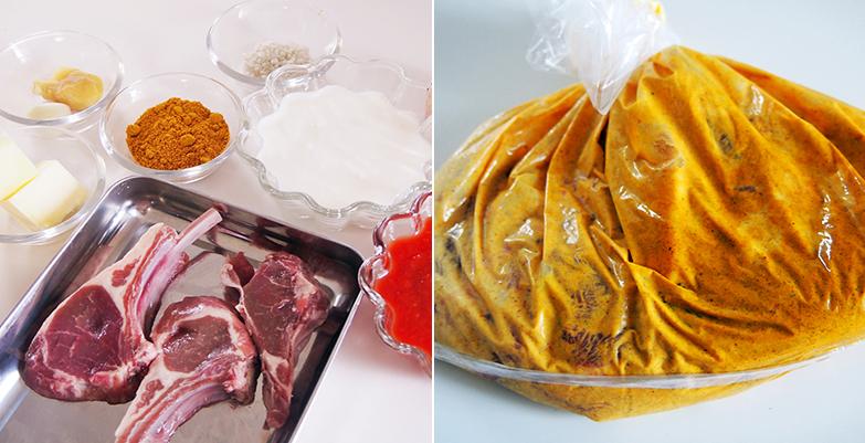 ラムチョップをヨーグルト、カレー粉に漬けてよく揉む