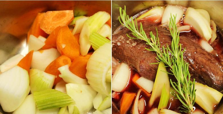 香味野菜炒めとサーロイン漬け込んだ赤ワイン