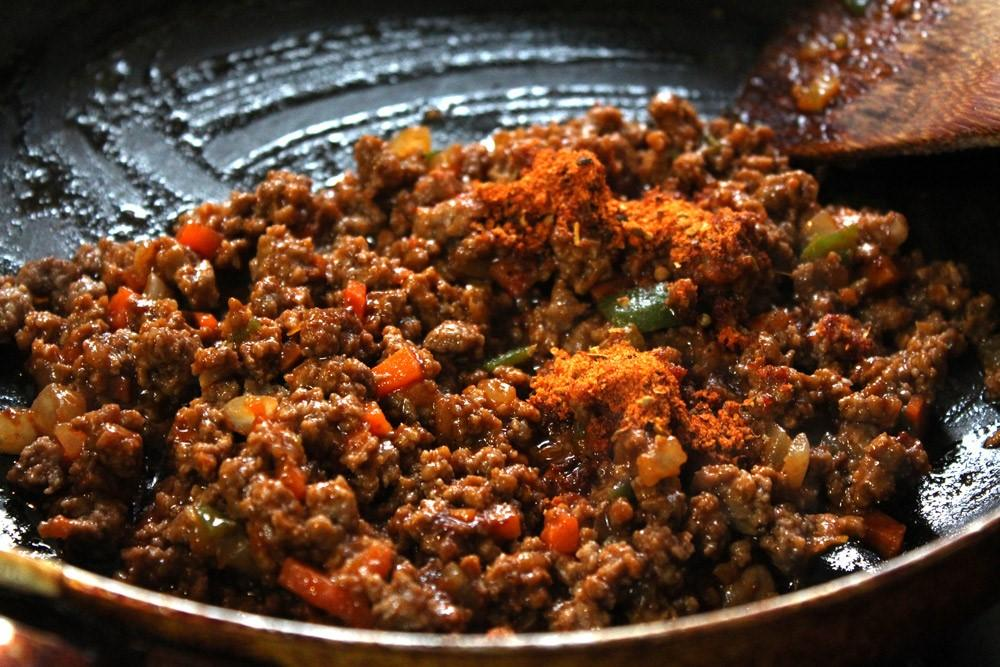 ground beef mix on low heat